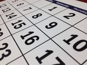 Calendar.   Image source:  https://pixabay.com/images/id-273857/